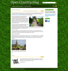 Screen shot of the open Country blog