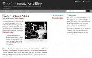 Screenshot of the Orb Community Arts Blog