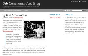Screenshot of the Orb Community Arts Blog