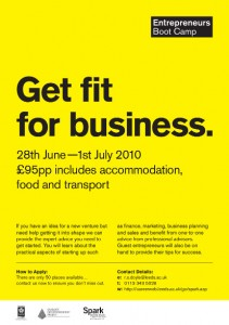 "Yellow poster reading ""get fit for business"""
