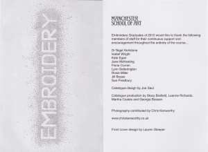 Two pages from the Manchester Metropolitan University embroidery exhibition guide