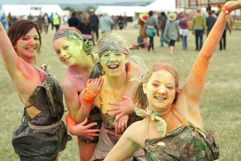 Girls in coloured paint at Beach Break Live festival