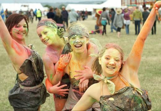 Girls in coloured paint at Beach Break Live festival