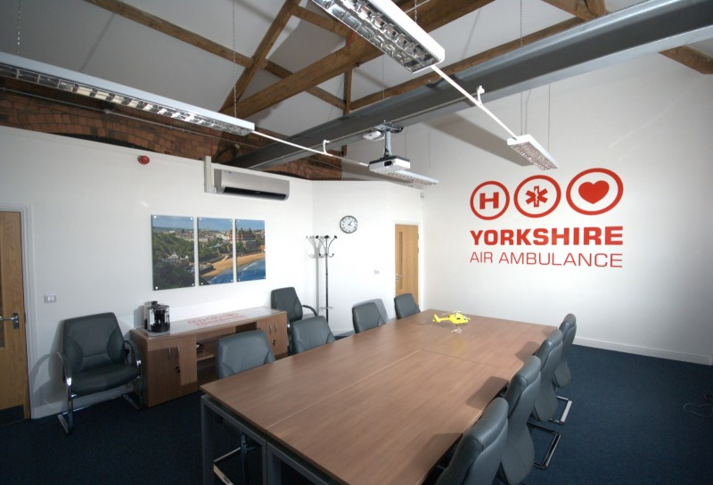 Boardroom of Yorkshire air ambulance's headquarters