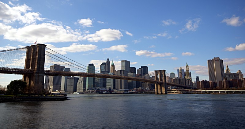 Manhattan island seen from Brooklyn in New York