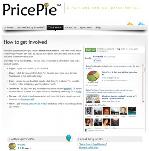 Screen shot of PricePie's consumer involvement page