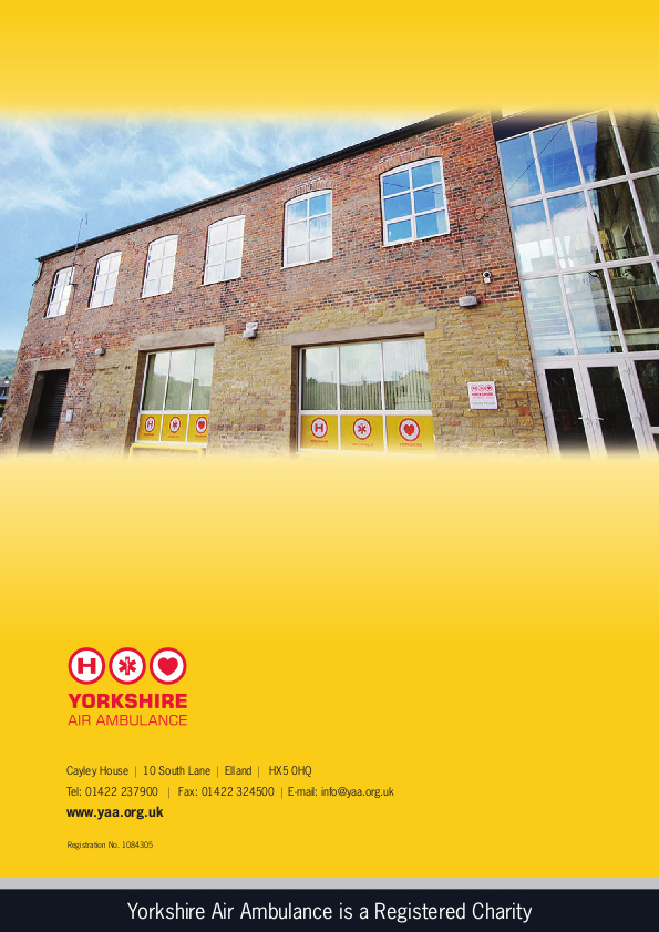 A scan of Yorkshire Air Ambulance's annual report which shows a photograph of their head quarters