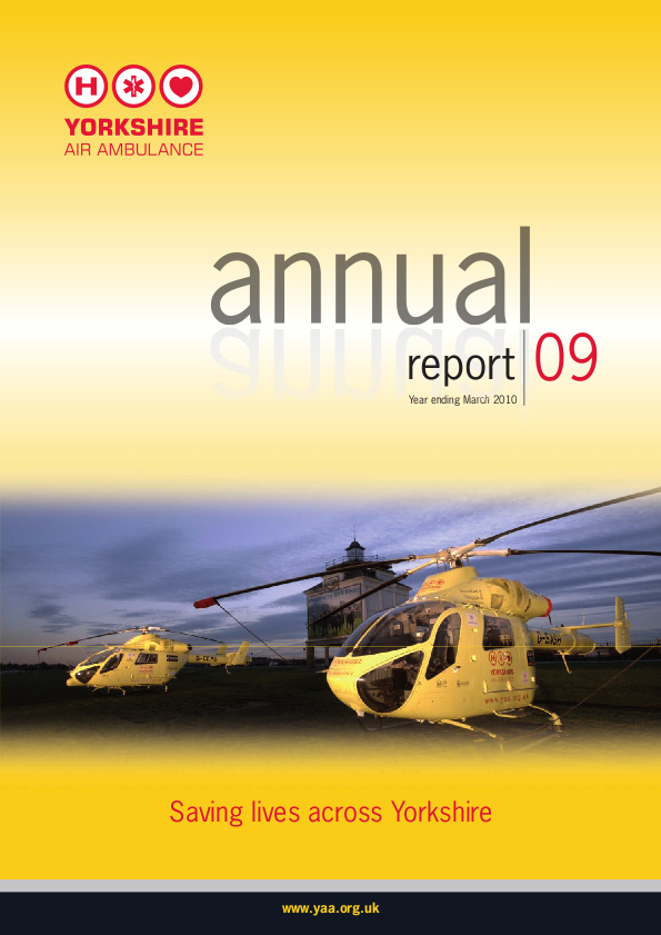 Yorkshire Air Ambulance's annual report front cover which shows two helicopters against a sunset