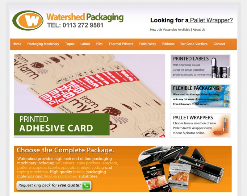 Screenshot of Watershed Packaging's website