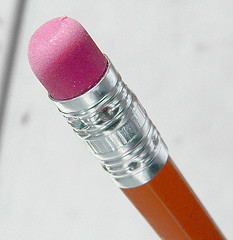 A rubber tip of a pencil