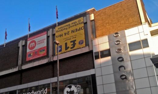 Upside down car park advert outside the Merrion centre in Leeds