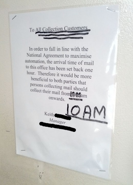 Notice in a Royal Mail office