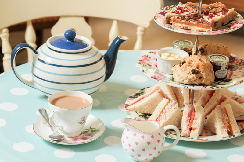 Afternoon tea, cakes and sandwiches