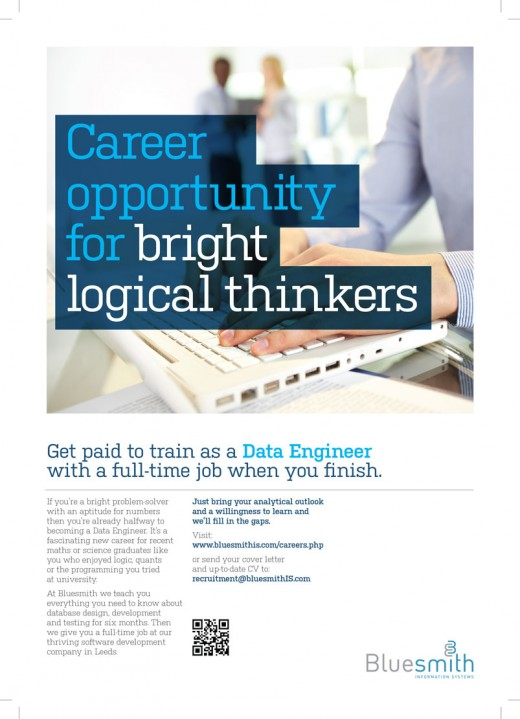"Poster which reads ""Career opportunity for bright logical thinkers"""