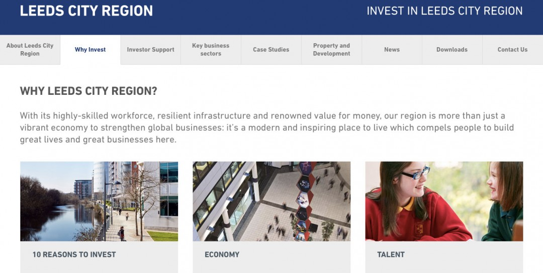 Copywriting for Invest in Leeds City Region's new website