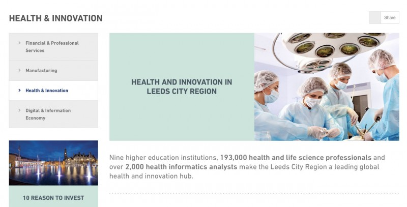 Screenshot of Invest in Leeds City Region's website with my copy