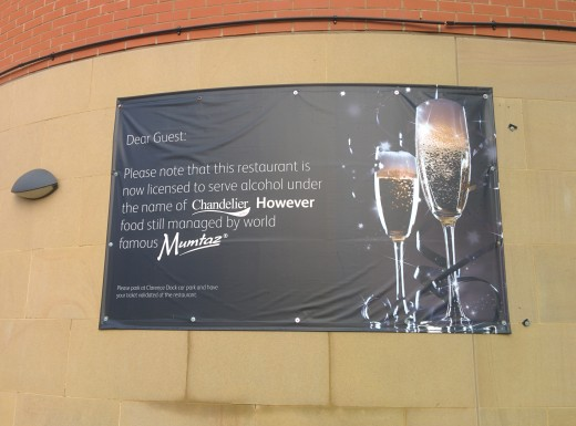 Sign outside a restaurant in Leeds
